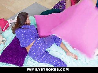 FamilyStrokes - Horny Teens Share Stepdads Cock At Sleepover